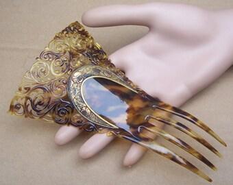 Auguste Bonaz Signed Hair Comb Faux Tortoiseshell Gilded Hair Accessory Headpiece Headdress Hair Jewelry Art Deco Celluloid Comb