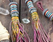 Mustard Berry African Tuareg Tassel, Goat Leather, Tribal, Nomad Leather Fringe, 1 Tassel, Keychain, Jewelry Supply, Decor, Accessory, Charm