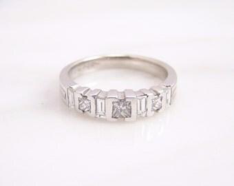 Vintage Princess Cut and Straight Baguette VS Quality Diamond 18K White Gold Ladies Band