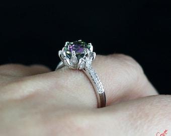 rainbow quartz diamond lotus engagement ring 2ct 8mm round cut custom wedding - Lotus Wedding Ring