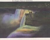 Niagara Falls Illumination- 1920s Antique Postcard- Night View- Rainbow Lights- 20s Souvenir- Miller Art Co.- New York- Paper Ephemera