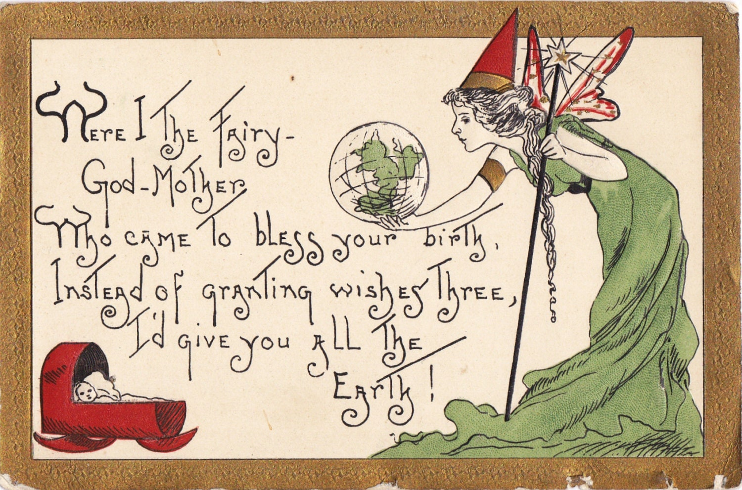 45 Best Birthday Wishes For Godmother: Fairy Godmother 1900s Antique Postcard Birthday Wishes