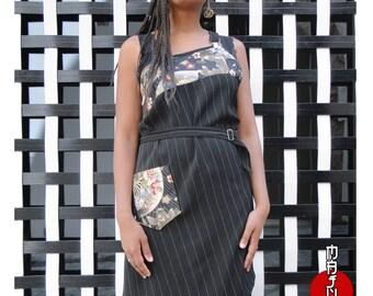 Black koi fish design quarter sleeve dresses