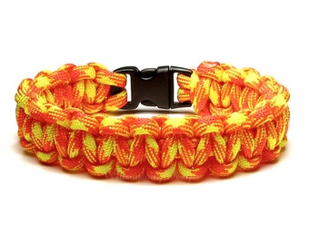 Paracord Bracelet Search And Rescue Bright Neon Orange Yellow Survival Accessory Military Gift For Men Women Veteran Fireman First Responder