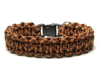 Paracord Bracelet Leopard Black Brown Fall Survival Accessory 550 Parachute Cord Veteran Gift Men Dad Wild Animal Deep Nature Jungle Safari