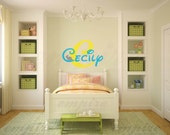 Fairytale decals, Personalized decal, Disney Wall Decal, Name Decals, Girls Nursery Wall Decals, Girls Name Wall Decals, Bunny decals