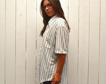 Striped Button Up Shirt - 1960s Mens Mid Century Oxford Shirt - Navy Blue White - Vintage Short Sleeve Shirt - Extra Large XL