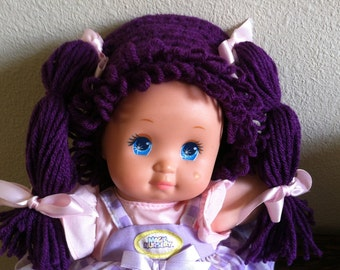 Cabbage Patch Kid Style Crocheted Purple Wig Hat Halloween Costume for Baby Girls Size Newborn to 12 Months