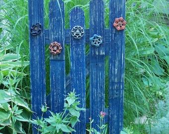 Blue Garden Gate Decor, Natural Cedar Fence With Faucet Handle Accents, Garden Gate Style Decor