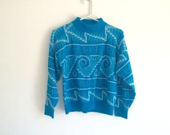 1980s tribal southwestern geometric HIPSTER slouchy sweater