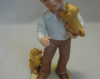 Porcelain Figurine Best Friends Boy & Puppies Handcrafted For Avon 1981