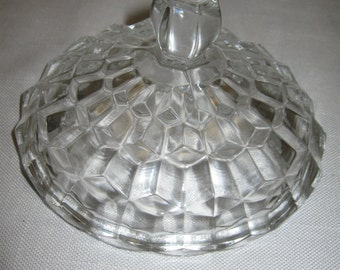Jeanette Glass Co Cube Cubis Candy Butter Dish Lid Only 1929-1933