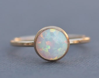 Best Seller Gold Filled White Opal Ring,Genuine White Opal Gemstone Ring,Small,Dainty,Petite,Stacking Bezel Ring,October Birthstone,Womens