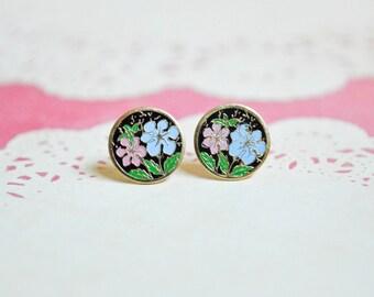 Enamel Daisy Earrings - Blue & Pink Flowers - Surgical Steel Earrings - Vintage Cabochons - Floral Earrings - Spring Fashion