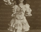 French Girl in Frilly Dress Holding Roses Real Photograph Sienne 600 DPI - Digital Art, Scrapbooking, Card Making & Crafts  INSTANT DOWNLOAD