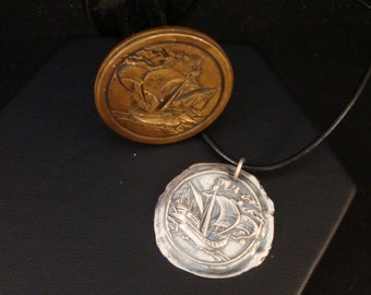 Sailing Ship on the Sea Fine Silver Wax Seal Necklace - PMC Fine Silver Jewelry