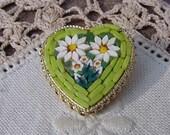 Vintage Lime Green Italian Micro Mosaic Heart Brooch