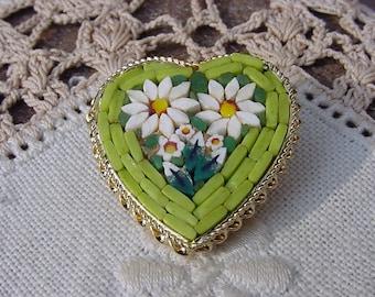 Vintage Italian Brooch Micro Mosaic Lime Green Heart Brooch