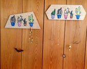 Cactus Jewelry Holder, Back to School, Key Hook, Reclaimed Wood Decor in Hexagon or Trapezoid