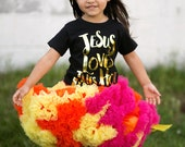 JESUS loves this little hot mess - girls graphic gold foil tee
