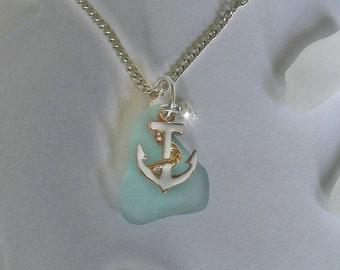 Anchor Necklace - Aqua Sea Glass Necklace - Seaglass Beach Glass Jewelry,