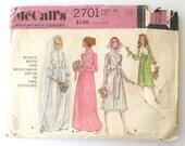 1970 Bride & Bridesmaid Dress Pattern McCalls 2701 Boho Wedding Dress Sewing Pattern Knee or Floor Length Modest Dress Size 14 Bust 36