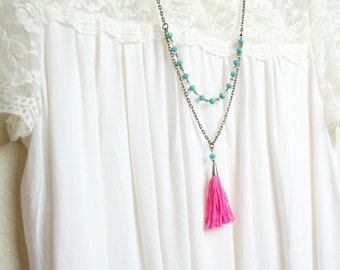 Signature Pink and Turquoise Tassel Necklace