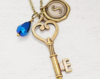 long key necklace,bridesmaid gift,skeleton key pendant,graduation gift,best friend necklace,wedding jewelry,personalized heart key necklace