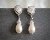 Wedding Earrings, Swarovski Pearl Drop Bridal Earrings, Silver or Rose Gold Dangle Earrings, Zirconia Stud Earrings, Wedding Jewelry, PIPPA