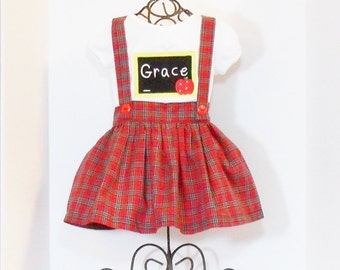 GIRLS SCHOOL DRESS Preppy Jumper Size 12 months to 8 Pinafore Monogram Fall School Clothes