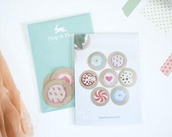 Dessert Sticker Set - Sweet Treat Collection, Block Print