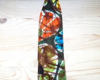 Vintage Hawaiian Batik Barkcloth Clip on Men's Tie