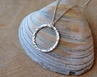 Simple Silver Circle Necklace Hammered Sterling Circle of Life, Argentium