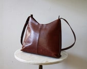 Leather Bag Brown Purse Boho Riche Distressed - 1980s VINTAGE