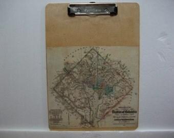 Map Clipboard / Washington DC Vintage Map Clipboard / Office Map Clipboard