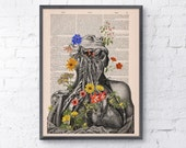 Flowery neck and head collage Printed on Vintage Dictionary Book page. art print,Wall decor art, Anatomy decor, Flower print art BPSK101