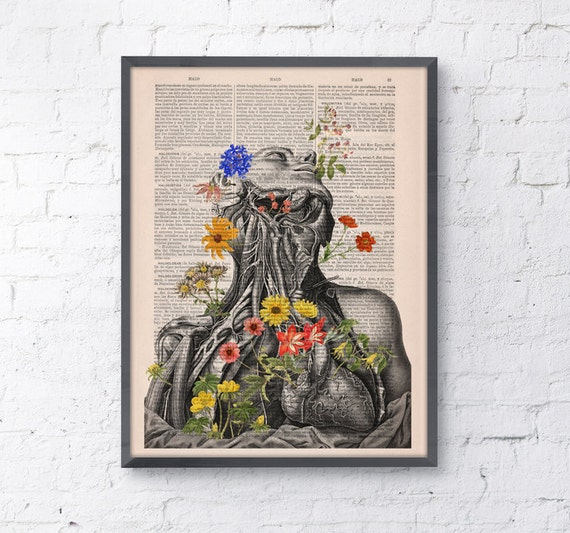 Spring Sale Flowery neck and head collage Printed on Vintage Dictionary Book page. art print,Wall decor art, Anatomy decor, BPSK101