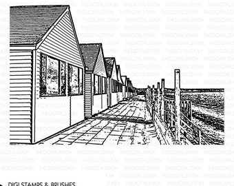 Beach Cottages - Digital Stamp and Brush - INSTANT DOWNLOAD - for Collage, Cards, Journaling, Scrapbooking, Invites, Crafts and More