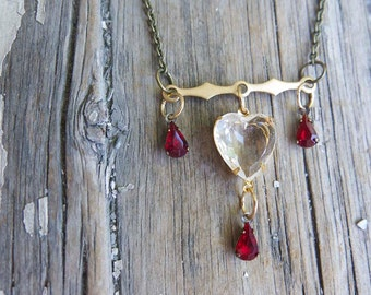 Valentine's Day Red Heart Necklace Ruby Drops Crystal White Wife Girlfriend Teardrop Chandelier Beads Brass Bar Jewelry For Her Gift Mom