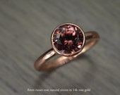Zircon Deep Rose Russet Gold Ring, 2.5ct round Engagement Ring, solid yellow rose white gold bezel - Blaze Solitaire