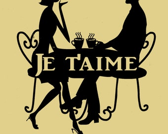 "Coffee,Je T'aime,French,Paris,Wall Decor,Metal Art, Coffee,Java,Couple,I Love you,Sexy,Approximate Size: 11"" W  x 12 1/2"" H"