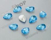Blue Acrylic Tear Drop Teardrop Loose Rhinestones, Multi-Faceted Rhinestones, Tear Drop Rhinestone, 18mm x 13mm x 4mm (R8-165)