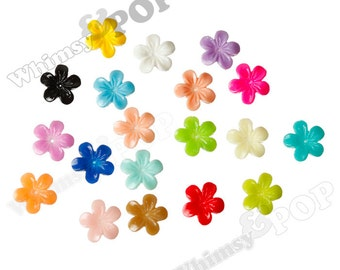 MIXED Colors Violet Flower Resin Cabochons, Flower Cabochons, Flower Cabs, Flower Flat Backs, Flatback Cabochons, Hibiscus 11mm (R8-081)