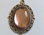 Vintage Blush Pink Oval 25x18mm Cabochons 37x26mm Silver Pendant Qty - 1