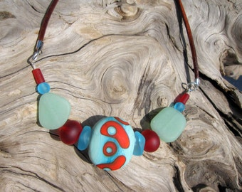 Sea Glass and Glass Bead Necklace