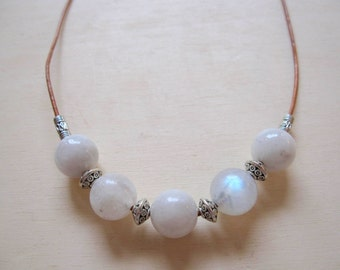 Moonstone and Leather Necklace