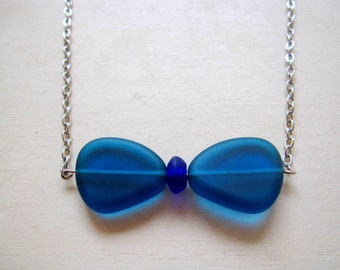 Blue Sea Glass Necklace: Large Bow Tie Necklace