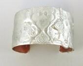Small Stamped Solder Cuff Bracelet, Copper Cuff, Copper Bracelet 5 1/2 by 1 3/8 inch Wide Cuff, Flooded Solder Cuff, Small Cuff