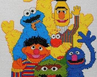 Exquisite Finished Completed SESAME STREET ST Ernie Bert Big Bird Oscar Grover - Counted Cross Stitch Picture