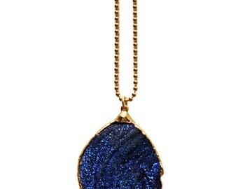 blue titanium druzy necklace